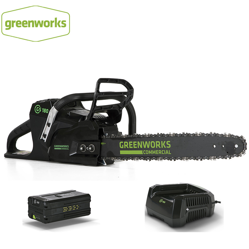 New Arrival GreenWorks Pro GS181 2500W  82V 18-Inch Cordless Chainsaw 5Ah Li-Ion Battery Charger Included
