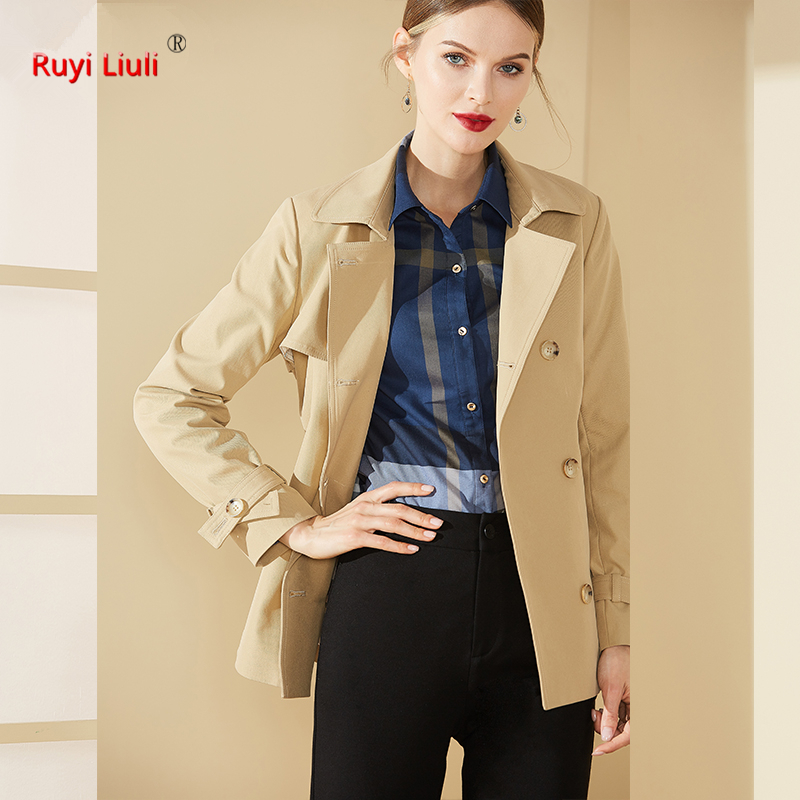 Fashion 2019 spring new British style lace up waist show thin short trench coat women