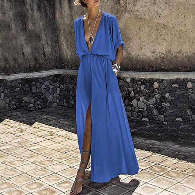 Frauen kleid Tiefe V-ausschnitt Casual Mid Sleeve Große Schaukel Schlitz Fahion lange Kleid beiläufige elegante Übergröße kleider frau partei nacht