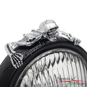 Image 5 - Cho Harley Bobber Xay Thịt Đèn Pha Che Đồng Hồ Trang Trí Chắn Bùn Mũ Bảo Hiểm Đầu Lâu Trang Trí Mũ Bảo Hiểm Che Hình Đồ Thị Chrome