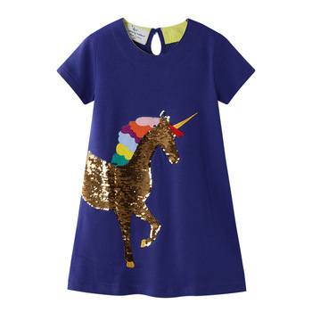 2-7 Years Girls  Dress Embroideried with Unicorn Sequines T-Shirt for Toddler Kids Summer Outfit Princess Party