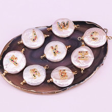 цены 15Pcs Rainbow cz micro pave letter charm freshwater pearl connector bead,diy jewelry accessories