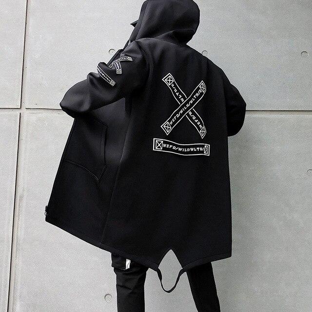 Long Jacket Men Print Fashion 2020 Spring Harajuku Windbreaker Overcoat Male Casual Outwear Hip Hop Streetwear Coats Plus Size