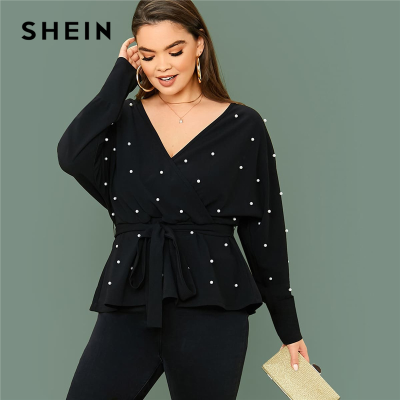 SHEIN Plus Size Black Surplice Neck Dolman Sleeve Pearls Beaded Belted Top Women Spring Solid Elegant Office Lady Peplum Blouses 1