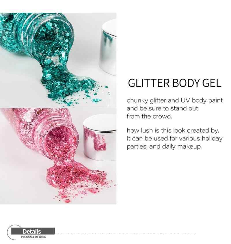 9 สีอายแชโดว์ Glitter เจลครีมผม Face Eye Glitter Festival PARTY Flash หัวใจ Pigment หลวม Sequins ครีม TSLM2