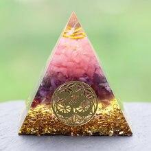 Gül kuvars şifa orgon piramidi om sembolü ile enerji jeneratörü kristal meditasyon ev ofis Deco