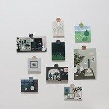 Модули 9 Листов Простой Лесной Серии Открытка Номер Стикеры Стены Плакат Фото Prop Творческий Фон Декоративные Картины Карты