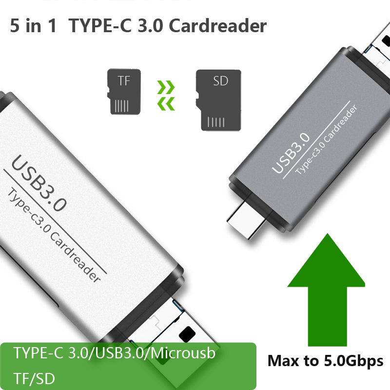 5 in 1 card reader adapter type c usb3 0 microusb 5Gbps Micro SD Micro SD TF Card Reader OTG for pc and smart phone in Computer Cables Connectors from Computer Office