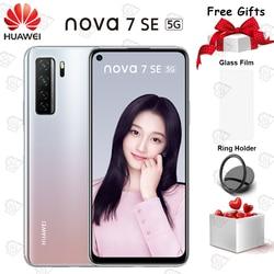 Nova 7 SE мобильный телефон 6,5 дюймов 8 Гб RAM 128 ГБ ROM Kirin 820 Восьмиядерный Android 10 Quad Camera 4000 мАч Smartphpone