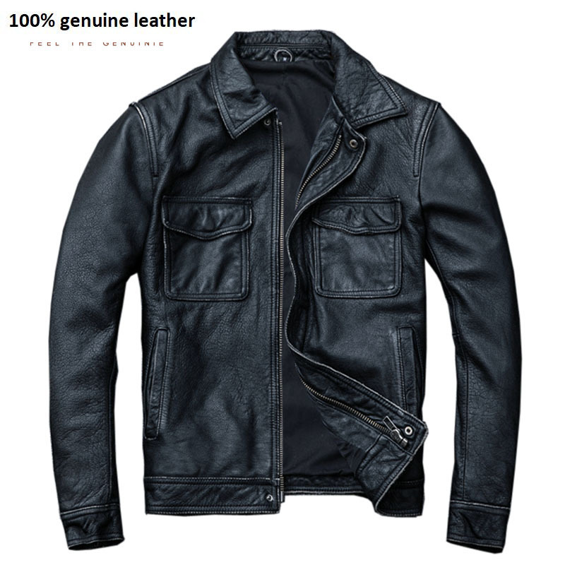 Vintage Black Real Leather Jacket Men 100% Natural Calf Skin Red Brown Leather Jackets Men's Leather Coat Autumn M174