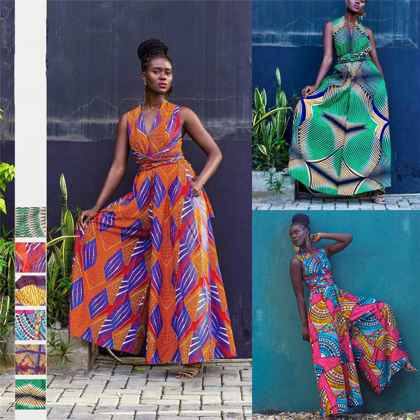 2020 New African Clothes Jumpsuit Multi-Wear Style Wide Leg Pant Dashiki African Dresses For Women Fashion Ladies Robe Africaine