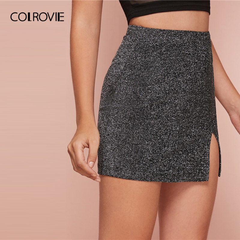 COLROVIE Grey Split Hem Glitter Skirt Women Sexy Bodycon Solid Mini Skirt 2020 Summer Ladies High Waist Glamorous Skirts