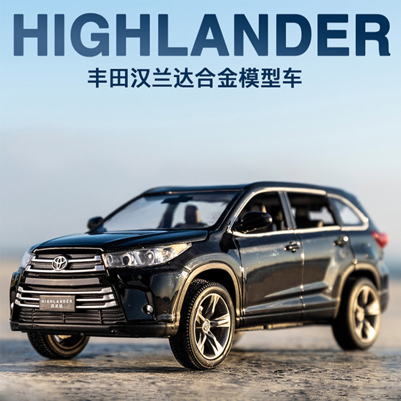 1:32 Alloy TOYOTA Highlander Diecast Cars Model Metal Toy Car 6 Doors Open Pull Back Sound Light Car Kids Toys For Children