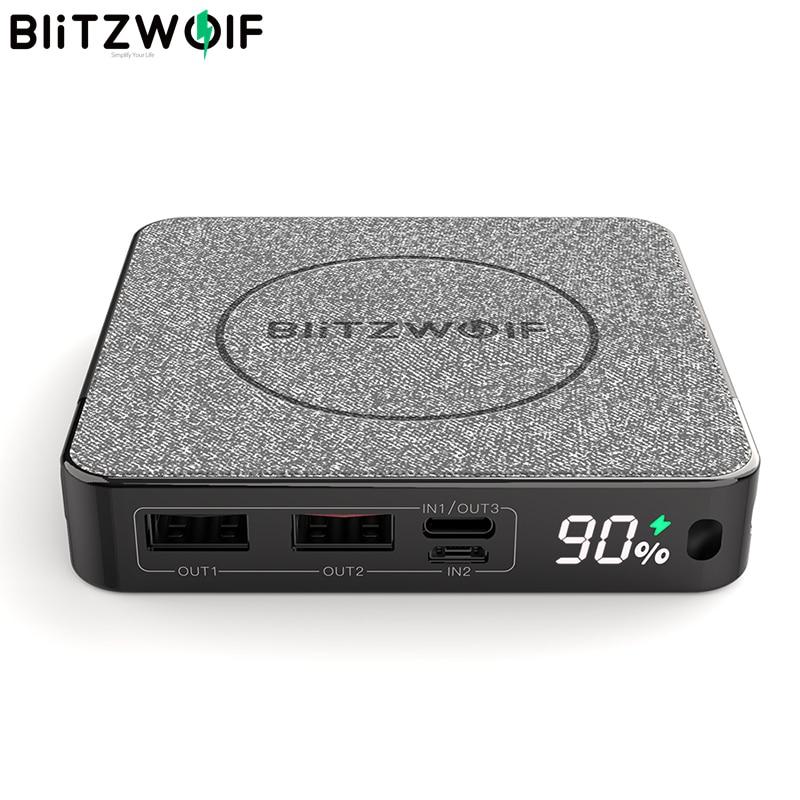 BlitzWolf официальный BW-P13 светодиодный Дисплей 10000 мА/ч, Мощность банк QC3.0 PD3.0 18 Вт + 15 Вт Беспроводной Зарядное устройство тканевая поверхность м...