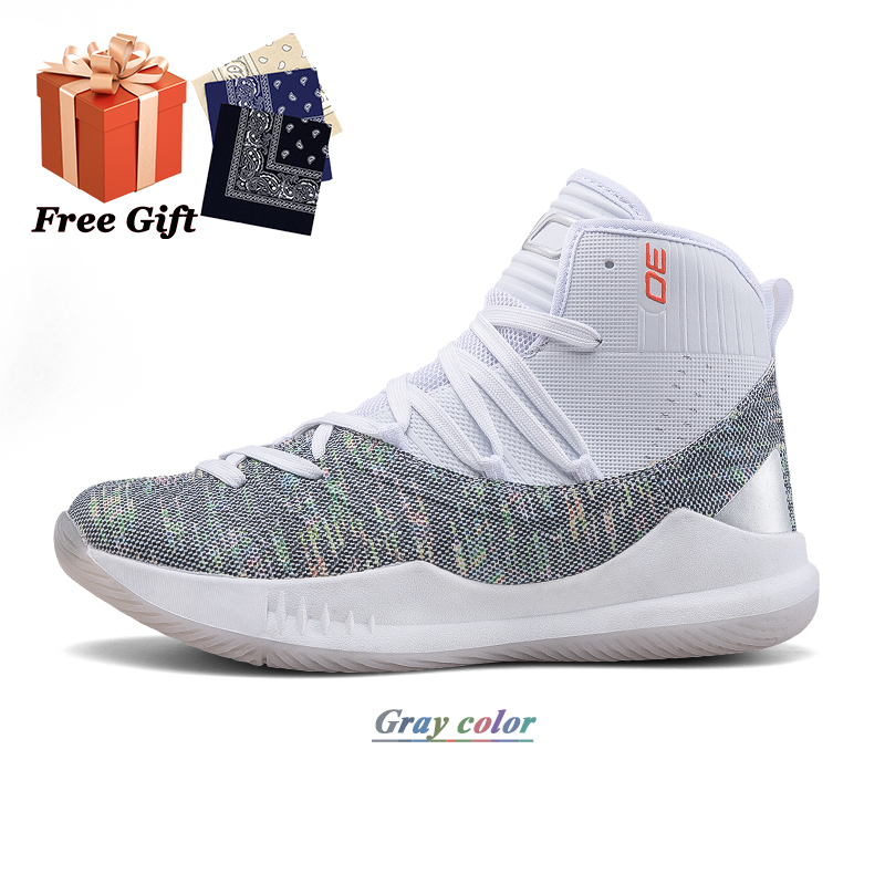 New men's non-slip wear-resistant printed sports shoes street combat breathable basketball shoes basketball cultural shoes