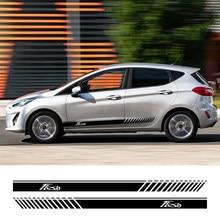 Autocollants à rayures en PVC pour Ford Fiesta, 2 pièces, jupe latérale de porte de voiture de course des deux côtés, décor de carrosserie automobile, graphiques en vinyle, accessoires de décalcomanies