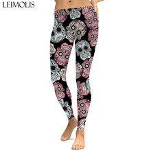 LEIMOLIS sexy gothic hip hop skull black print push up leggings plus size women fitness workout punk high waist spandex leggins