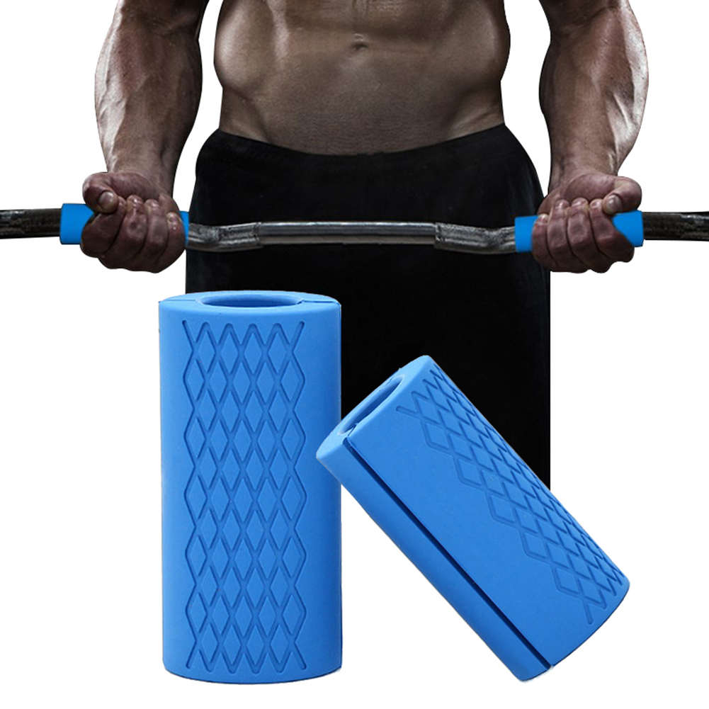 1 Pair Dumbbell Barbell Grip Bar Pad Handles Silicone Anti-slip Protect Pull Up Weightlifting Kettlebell Fat Grips Gym Support