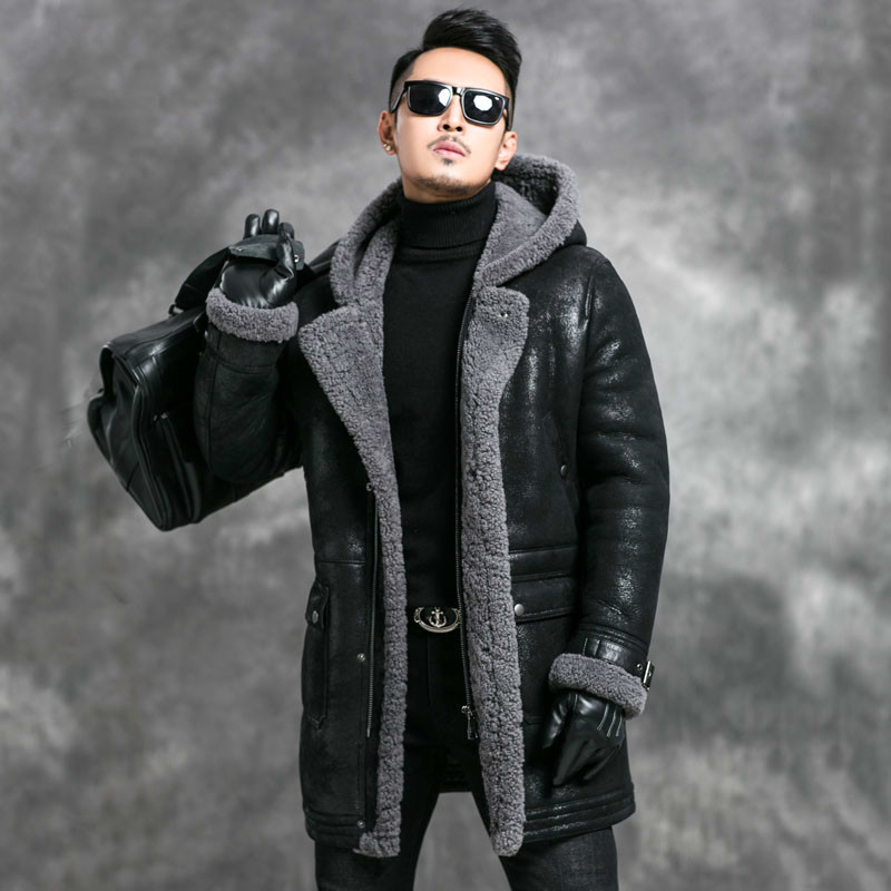Sheep Shearling Jacket Men Winter Real Fur Coat Mens Genuine Leather Jacket Hooded Vintage Long Thick Leather Coats 4670 KJ3583