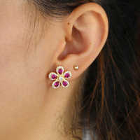 spring New fashion women jewelry earrings white red cz lovely beautiful Flower stud earring