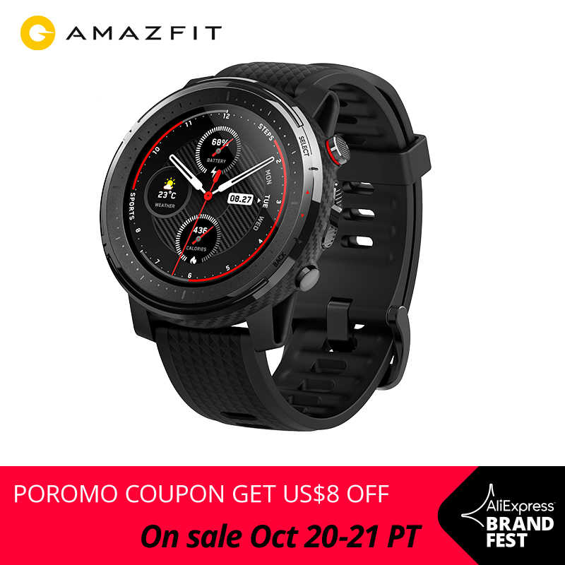 En Stock Version mondiale nouvelle Amazfit Stratos 3 montre intelligente GPS 5ATM Bluetooth musique double Mode 14 jours Smartwatch pour Android 2019