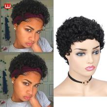 Wignee Short Curly Human Hair Wig For Black Women 150% Density Remy Brazilian Pixie Cut Spiral Curl Soft Cheap Wig Free Shipping