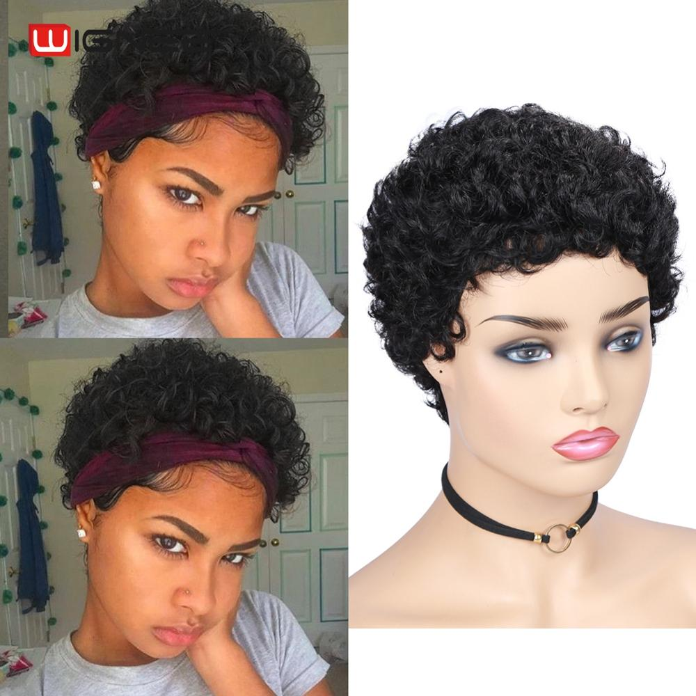 Wignee Short Pixie Cut Remy Brazilian Human Hair Wigs For Black Women 150% High Density Afro Kinky Curly Cheap Curly Human Wig