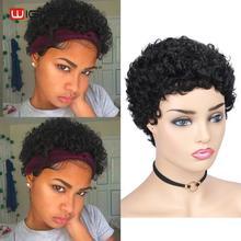 Wignee kısa kıvırcık insan saçı peruk siyah kadınlar için 150% yoğunluk Remy brezilyalı tutkalsız Pixie kesim Afro kıvırmak yumuşak ucuz insan peruk