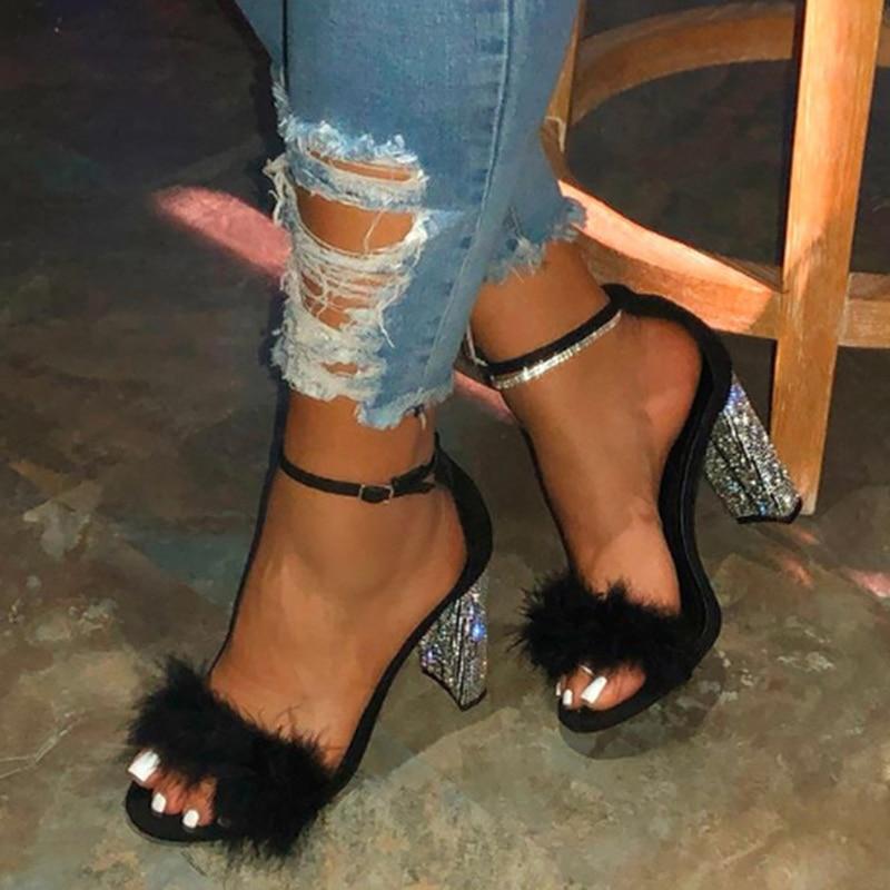 Women's Pumps Summer Women Fur Bling Sexy Square High heels Platform Peep toe Party Wedding Shoes Buckle Strap Chaussure femme