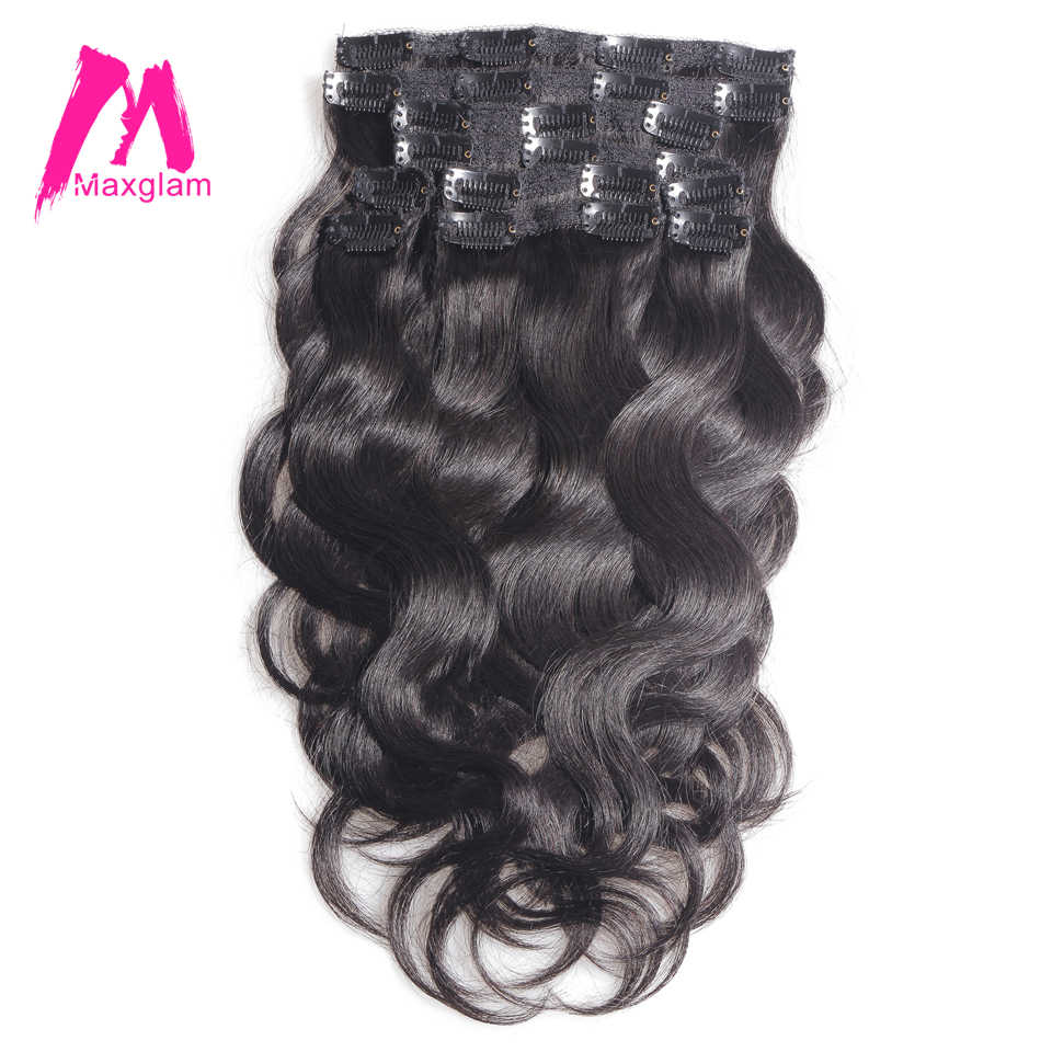 Maxglam clip in human hair extensions 100g/9pcs 140g/10pcs Brazilian Body Wave Remy Hair Natural Color