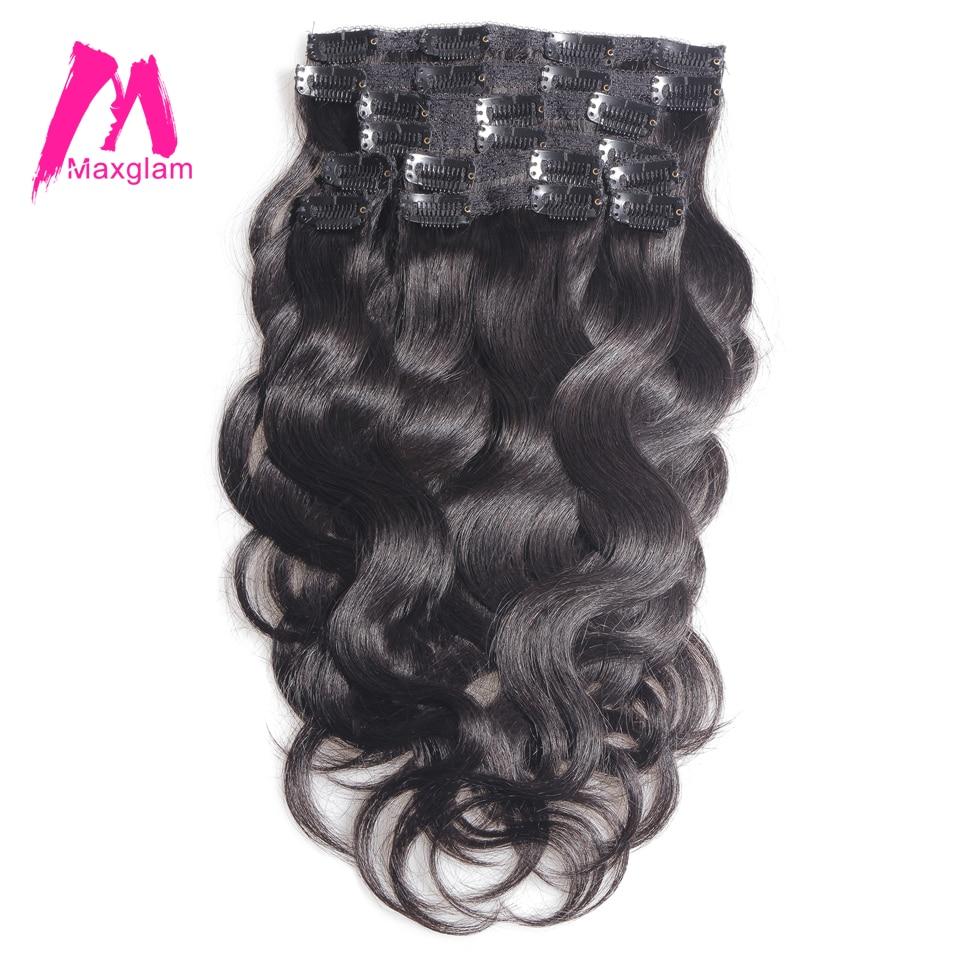 Clip Maxglam dans les extensions de cheveux humains 100g/9 pièces 140g/10 pièces brésilien vague de corps Remy cheveux couleur naturelle