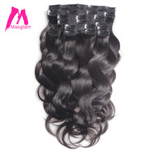 Maxglam clip in human hair extensions 100g/9pcs 140g/10pcs Brazilian Body Wave Remy Hair Natural Color(China)
