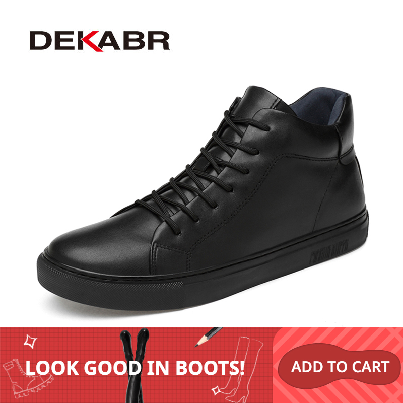 DEKABR 2019 Hot Sale New Arrival Handmade Fashion Men Boots Classic Black Winter Autumn Boots Genuine Leather Warm Ankle Boots