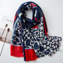 Cotton Scarves for Girls Spring Summer Korean Style Blue Leopard Striped Long Shawl