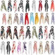 Nuevo Floral imprimir Scrunchies para mujeres niñas Pelo elástico bandas serpentinas cabello bufanda cuerda de pelo lazos de pelo de moda Accesorios