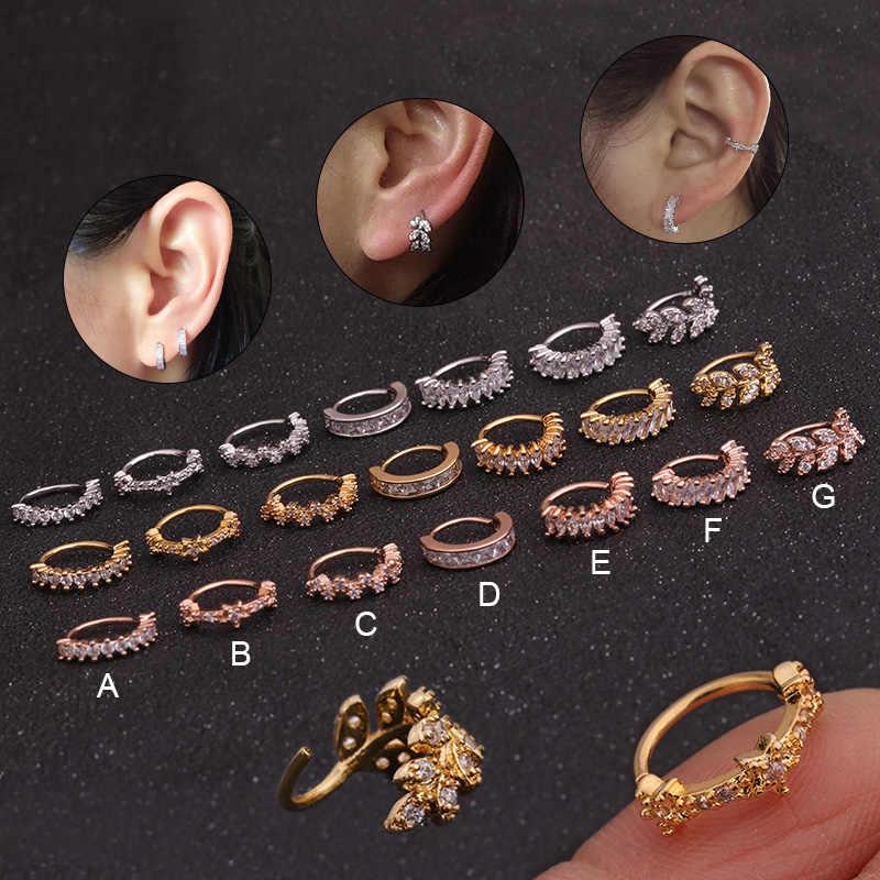 1PC 8mm זהב וכסף צבע טון CZ Helix סחוס חישוק עגיל Tragus העורב הדוקה אוזן פירסינג תכשיטים
