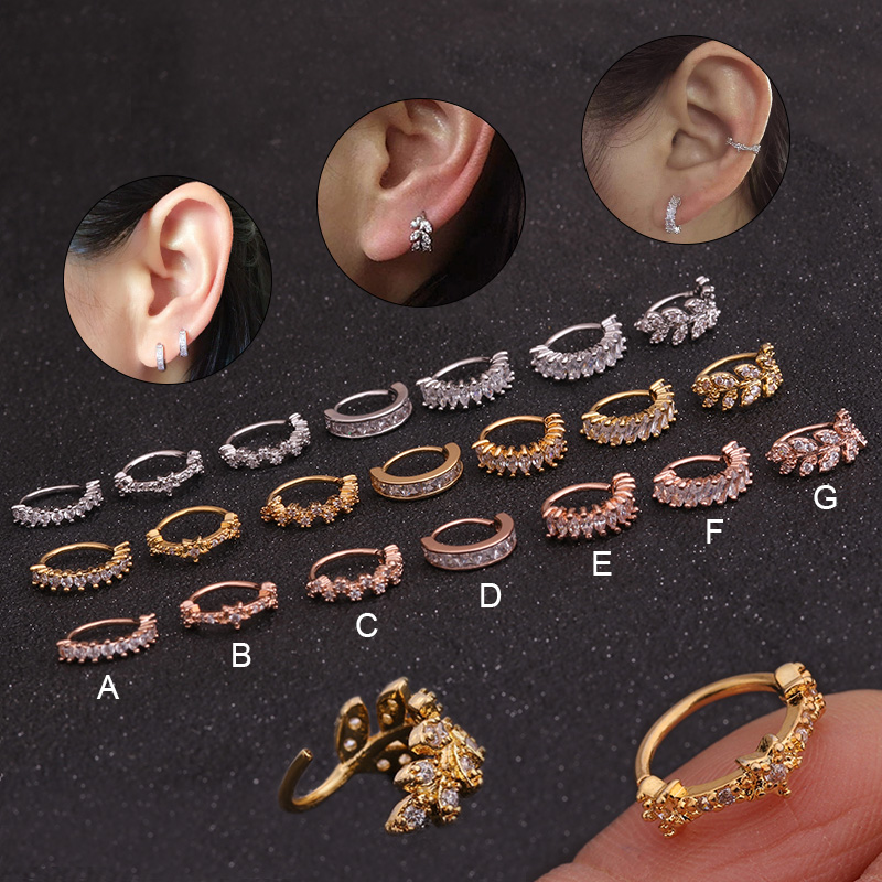 1PC 8mm Gold And Silver Color Tone CZ Helix Cartilage Hoop Earring Tragus Rook Snug Ear Piercing Jewelry