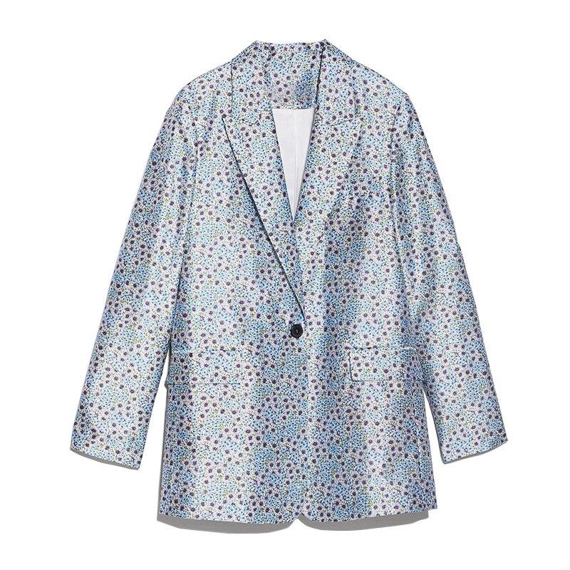Elegant Women Satin Blazer Suits 2020 Fashion Ladies Print Nothced Collar Jacket Suit Female Chic Suits Girls Stylish Clothes