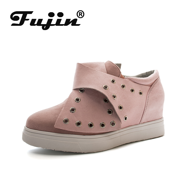Fujin Sneakers Platform Rivet Shoes Buckle Women Spring Autumn Winter Warm  Slip On Flat Heel Shoes Platform Wegde Shoes