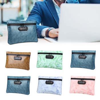 Smell Proof Bag PU Leather 100% Activated Carbon Storage Waterproof Odorless Pouch Case With Combination Lock