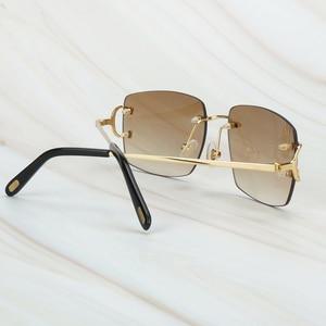 Image 2 - Gafas De Sol sin montura para hombre y mujer, lentes De Sol De lujo, Marco Carter para conducir, cuadradas, accesorios De diseñador