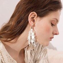 цена BTWGL Korean Fashion Temperament Ladies Lace Earrings Tassel Streamers Multi-Layer Flower Earrings Bohemian Style Jewelry