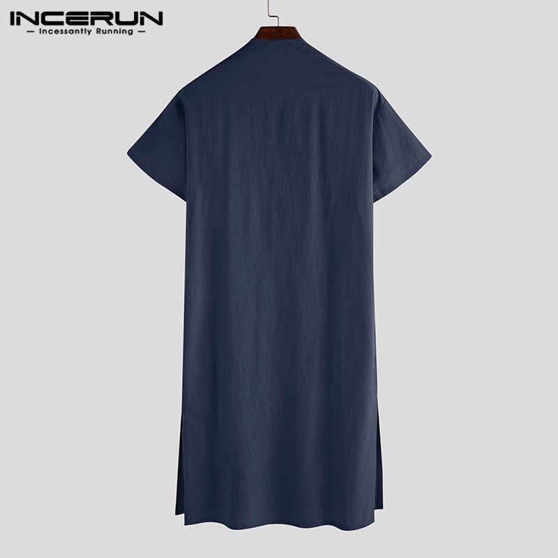 INCERUN เสื้อกันหนาวแขนสั้นผ้าฝ้ายผู้ชายอาภรณ์ VINTAGE ชุดนอน V คอกระเป๋าสีทึบ Nightgown Kaftan Mens เสื่อคลุมอาบน้ำ Homewear S-5XL