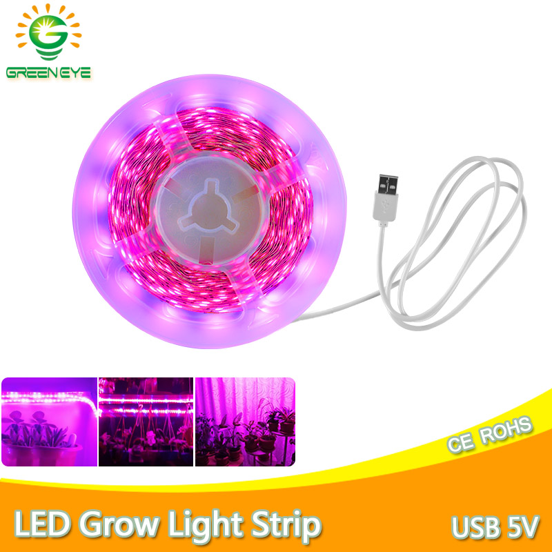 LED Grow Light USB 5V Full Spectrum LED Strip1m 2m 3m 0.5m SMD 2835 Chip LED Phyto Lamp For Greenhouse Hydroponic Plant Growing