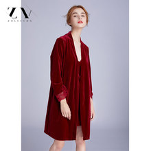Zoleevon Autumn Winter New Gold Velvet Women Robe Set Thicken Sexy Fashion Strap Pijama 2pcs robe gown sets