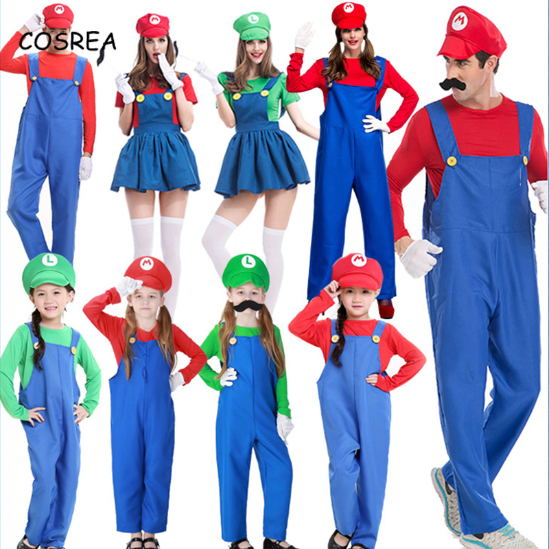 Men Women Adult Kids/'s Super Mario Luigi Bros Cosplay Fancy Dress Outfit Costume
