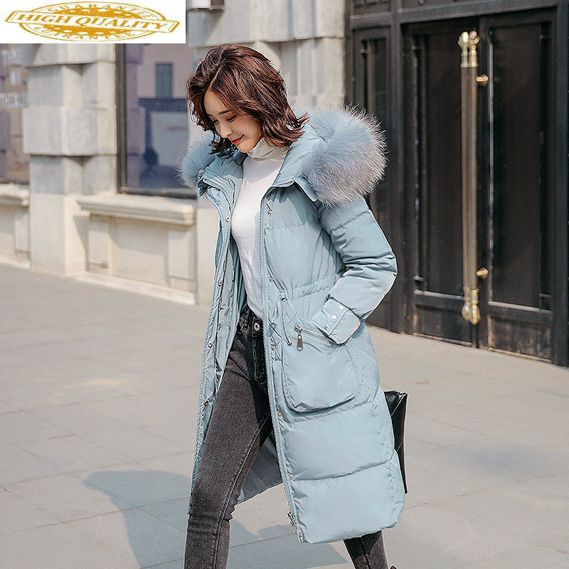 White Duck Down Coat Winter Coat Women Big Fur Collar Puffer Jacket Hooded Down Jacket Casaco Kurtka Damska 1938 YY1375
