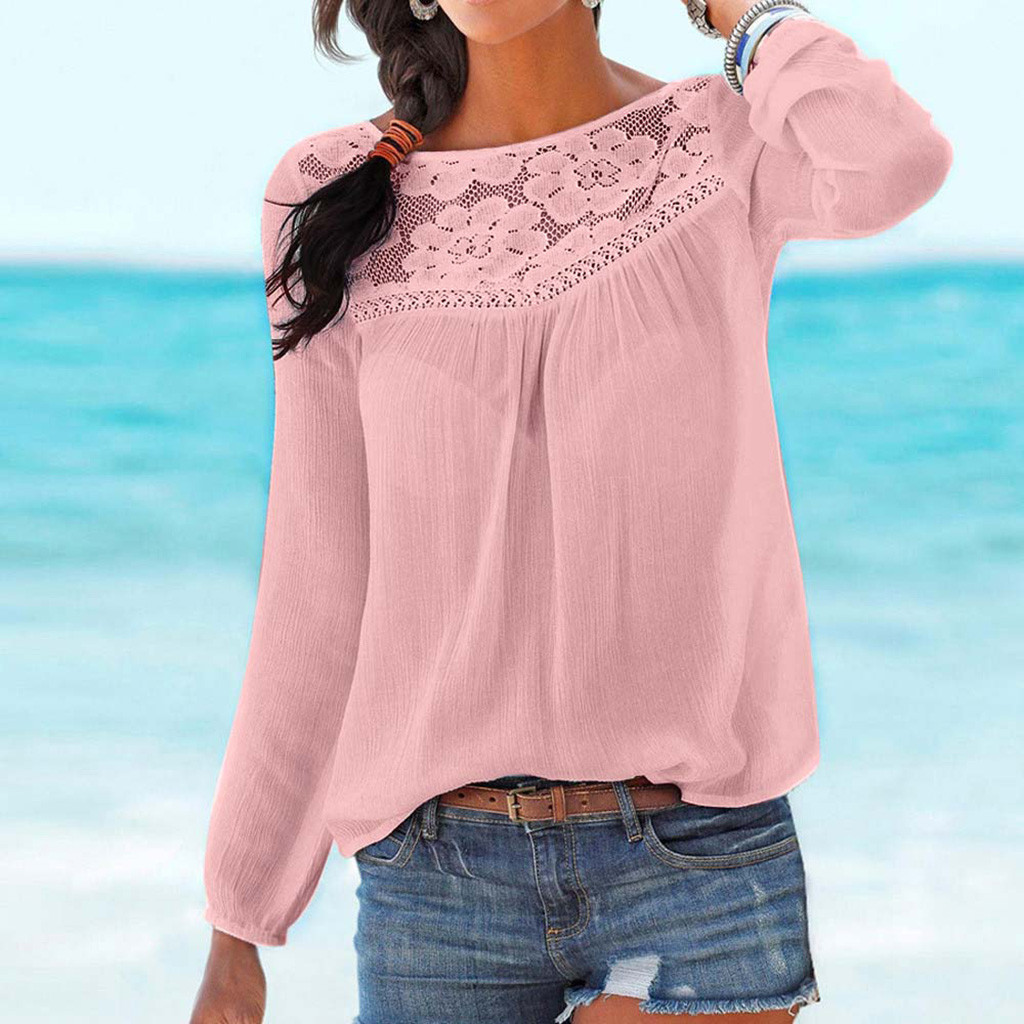 Lace Patchwork Shirt Women Casual Long Sleeve Tops Blouse Solid Summer Autumn Ladies Loose Tops Shirts Female Blusas New