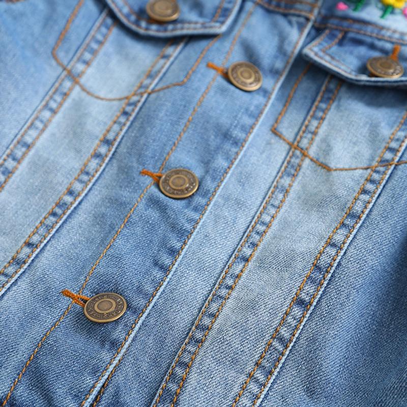 children's jacket 2021 spring and autumn new girls fashion denim jacket girls flower embroidery long-sleeved lapel jacket 5