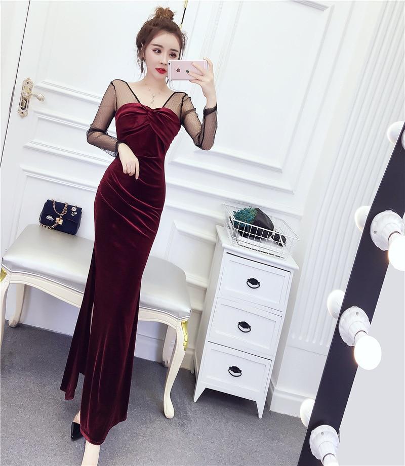 PRE-SALE 2019 Spring New Style Debutante Tight-Fit Sheath Slim Fit Slit Goddess Long Skirts Velvet Splicing Dress
